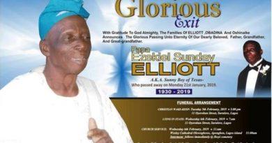 Desmond Elliot Uploads Father's Burial Arrangement Poster, burial