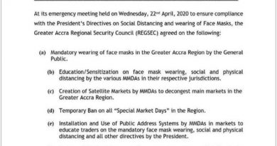 Covid-19: Wearing Of Face Masks Made Compulsory In Accra