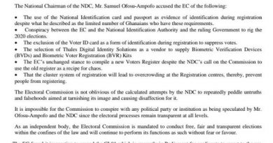 EC Accuses NDC Of Peddling Falsehood To Tarnish Its Image