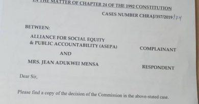 ASEPA Wins Asset Declaration Case Against Jean Mensa