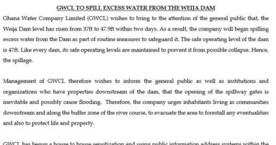 GWCL Warns Weija Residents Over Plans To Spill Excess Water From The Dam
