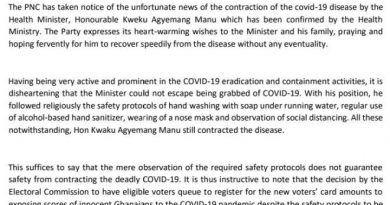 Health Minister Followed All Safety Measures Yet Got Infected; Learn Lessons And Stop The Voter Registration Exercise – PNC Tells EC