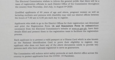 Voter Registration: Adults Above 60, Pregnant Women To Register At EC District Offices