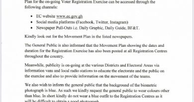 EC Advise Registrants Not To Wear Blue Coloured Attire To Registration Centres