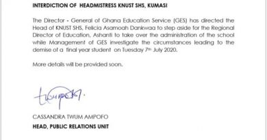 GES Interdicts KNUST SHS Headmistress After Death Of Student