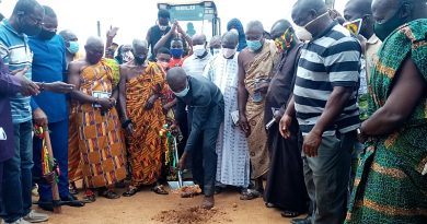 Obuasi Road Project Comes Alive As MP Cuts Sod