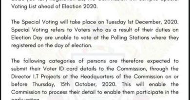 2020 Elections: EC Sets Tuesday December 1st For 'SPECIAL VOTING'