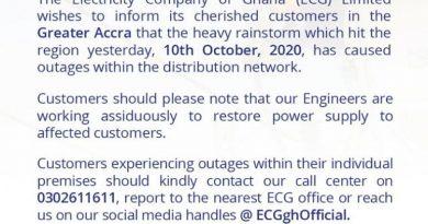 ECG Blames Dumsor On Saturday's Rainstorm