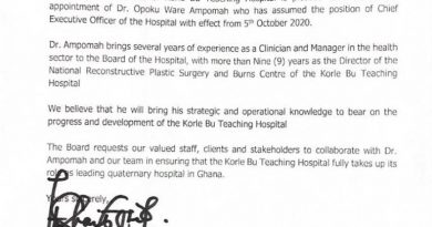 New Korle Bu CEO Assumes Office