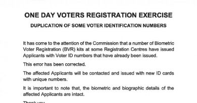 Thursday Registration: Voter ID Numbers Duplicated