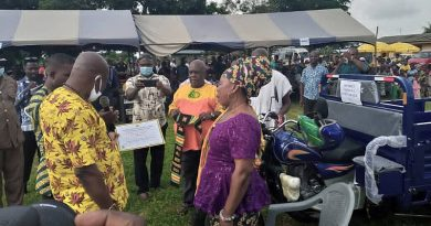 Akatsi South: Mrs Etsey Charity Kporwuvi Receives Boot, Cutlasses, Tricycle As Overall Best Farmer