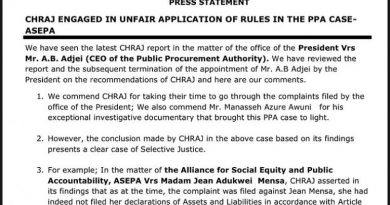 Sacking Of PPA Boss: ASEPA Accuses CHRAJ Of Selective Justice