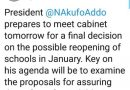 Akufo-Addo meets cabinet tomorrow over school reopening – Oppong Nkrumah
