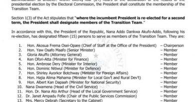 Prez Akufo-Addo appoints 15-member transition team
