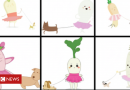 AI draws dog-walking baby radish in a tutu