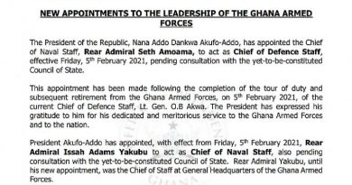Prez Akufo-Addo appoints acting Chief of Defence Staff