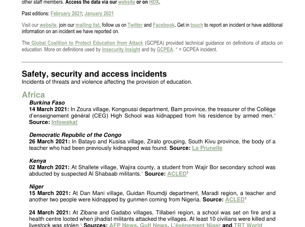 Education in Danger Monthly News Brief, March 2021 – World – ReliefWeb