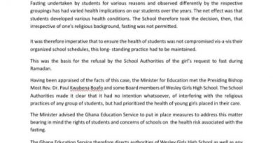 Ramadan: Allow Muslim students to fast – GES orders Wesley Girls, other schools