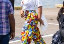 Beyoncé Paired Bold Yellow Floral Trousers With a White Crop Top for a Brooklyn Lunch Date