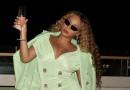 Here's Beyoncé Posing on a Yacht in the Perfect Mint Balmain Mini Dress